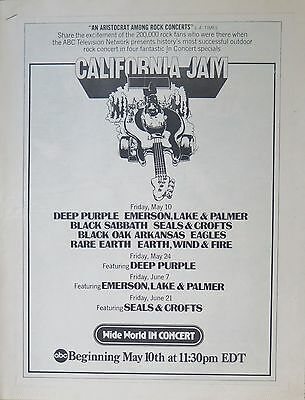 California Jam Black Sabbath Deep Purple ELP Eagles full-page ad US 1974 TV cast