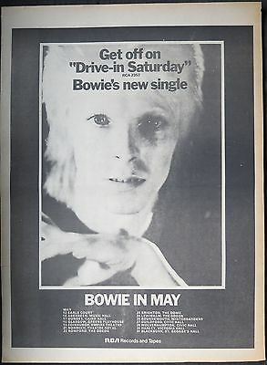 """David Bowie """"Drive-in Saturday"""" 45 UK tour full-page ad 1973"""