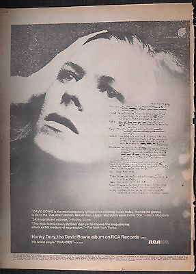 "David Bowie ""Hunky Dory"" full-page ad UK 1972 + Bonus x 2 M"