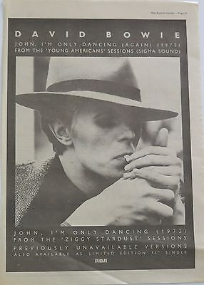 """David Bowie """"John, I'm only dancing"""" full-page ad UK 1979 (cig)"""
