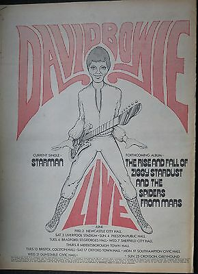 "David Bowie ""Ziggy Stardust"" tour ""Starman"" 45 full-page UK ad 1972 COL + Bonus"