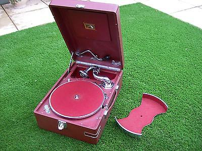 HMV Portable Wind Up Gramophone Model 102 Red & Chrome with record carrier.