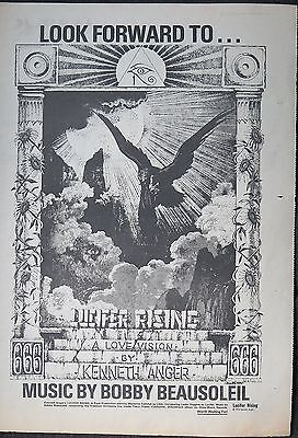 "Kenneth Anger ""Lucifer Rising"" full-page ad UK 1976 Aleister Crowley"