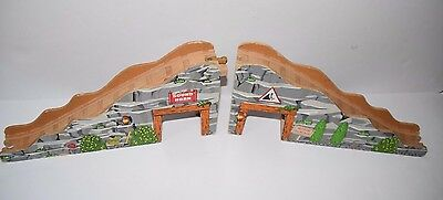 Thomas The Train Large Wooden Bridge Incline Decline Lot With Tunnels Passage