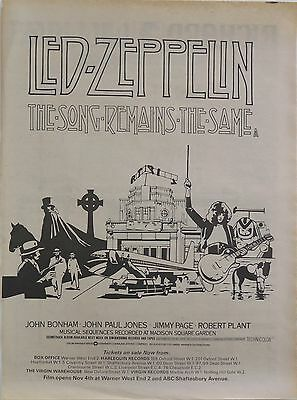 "Led Zeppelin ""The Song Remains the Same"" soundtrack full-page ad UK 1976 + Bonus"