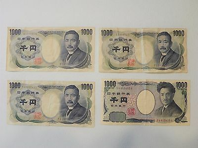 CURRENCY Circulated YEN Lot of 4 Bank Notes 1000 ¥ Vintage Bills Nippon Ginko
