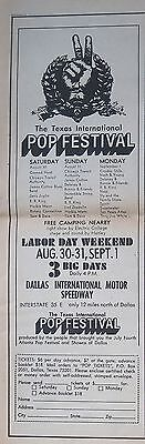 Led Zeppelin Janis Joplin CSNY Spirit Chicago BB King Texas Pop Festival ad 1969