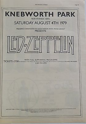 Led Zeppelin Knebworth Park 1979-1 full-page UK ad + Bonus