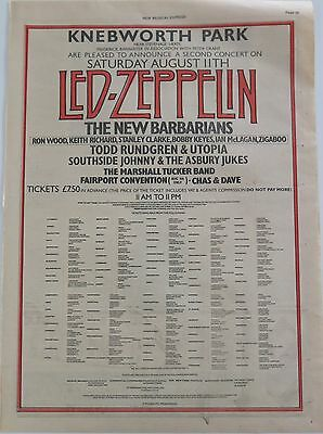 Led Zeppelin Knebworth Park 1979-2 full-page UK ad New Barbarians Todd Rundgren