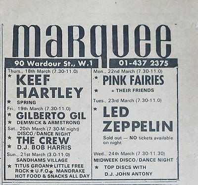 Led Zeppelin live at the Marquee 1971 ad UK+ Bonus