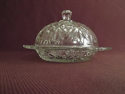 """Vintage Diamond Pattern Glass Butter Dish - Cover - Cheese - 6 3/4"""" Diameter"""