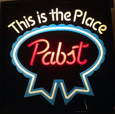 """Authentic 1985  PABST """"This is the Place"""" Fluorescent Lighted Beer Wall Sign PBR"""