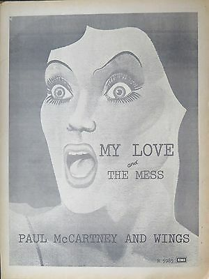 """Paul McCartney Wings """"My Love"""" """"The Mess"""" UK full-page ad 1973"""