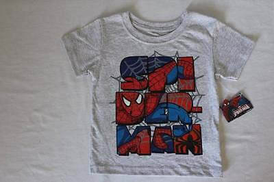 NEW Toddler Boys Spiderman T-Shirt Size 3T Gray Graphic Top Spider Man Tee NWT