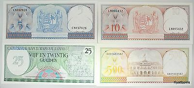1963 Suriname Set of 4 Banknotes 5, 10, 25, 500 Gulden Uncirculated UNC
