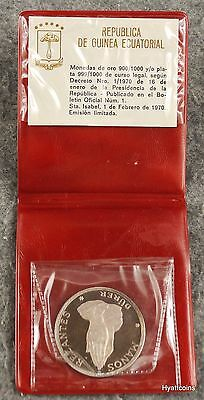 1970 Equatorial Guinea Proof Silver Praying Hands 100 Pesteas Guineanas Durer