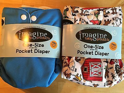 Imagine Baby Products 2 One Size Pocket Diaper Snaps Farm And Blue New