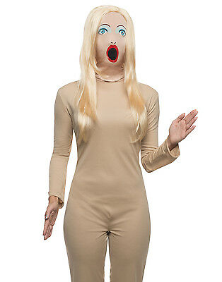 Blow Up Doll Mask And Wig Real Life Doll Funny Costume