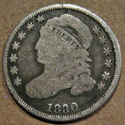 U.s. 1830 Capped Bust 89.2% Silver Dime Coin (Km#48)