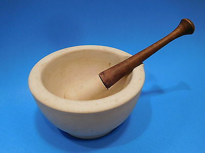 Antique 1800s Apothecary Pharmacy LM and S Mortar Wood Handle Pestle
