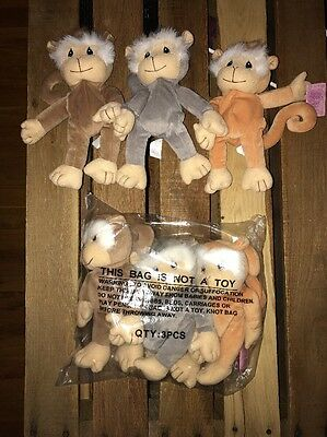 Precious Moments Tender Tails 1998 SPEC ED 3 Monkeys Bean Bag Enesco Plush Ty