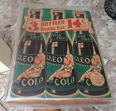ultra rare CLEO COLA 3 Pack Cardboard BOTTLE Carrier Box ~1930's-1940's~