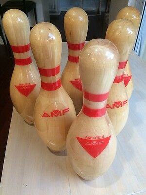 Lot Of 6 Vintage Souvenir AMF And lite Wooden Bowling Pins Trophies Trophy