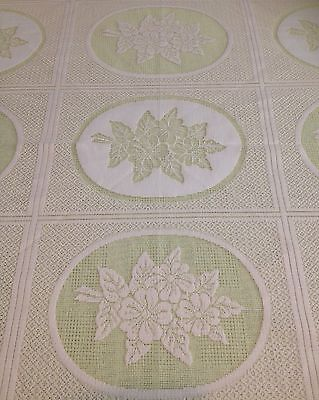 Vintage Polyester Lace Round Tablecloth
