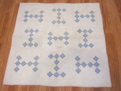 Darling c 1920s Blue Arrows Vintage CRIB Quilt 40 x 39 Farm House