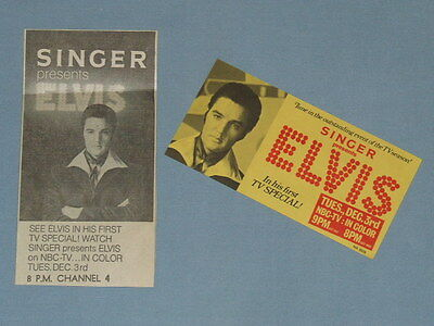 """1968 Elvis """"NBC Television Special"""" Presented by Singer Promo Card & Clipping"""