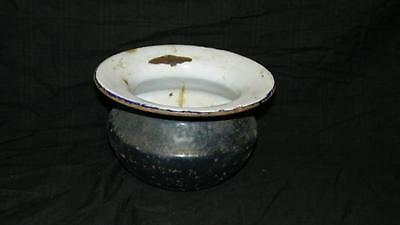 Antique Blue White Porcelain Over Metal Spitoon Tobacco Older