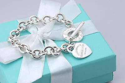 Please Return to Tiffany & Co. Silver Heart Charm Toggle Bracelet w/ Packaging