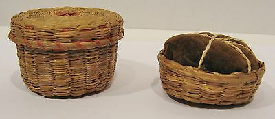 Two Antique Sweet Grass Box and Pin Cushion