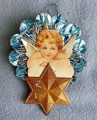 Antique German Christmas Tree Ornament With Embossed Angel On Cloud ca.1900