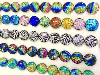 """1/2"""" DICHROIC Fused Glass Earring Cabs Accent Tile 55 Pcs (11 each of 5 Kinds)"""