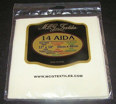 Aida Cloth Cream Ecru Cross Stitch Embroidery Material 14ct 30 x 46cms Quality