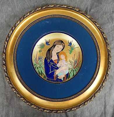 LIMOGES JEAN-PAUL LOUP PLATE 1974 ENAMELED Plate in FRAME #466/500 Mother's Day