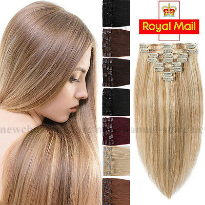 8PCS Clip in Remy Hair Extensions 100% Real Human Hair Extension Blonde Brown C6