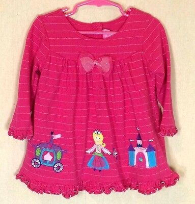 Baby Toddler Girls Dress Size 2t Pink Princess Sparkle Stripes Cotton   F3