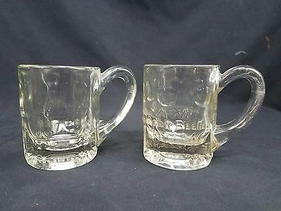 A & W Root Beer Vtg 1920s Embossed Logo Circles Clear Set of 2 Glass Mugs