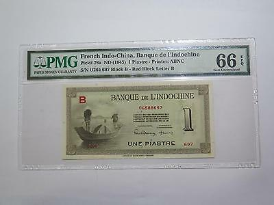French Indo China  Pmg 66 1 Piastre Banknote Collection Lot #2 Of #5 Consecutive