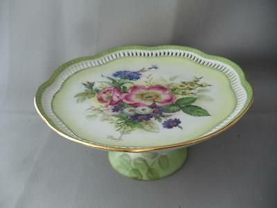 Antique Schumann Bavaria Hand Painted Flowers Porcelain Cake Plate Tray Signed