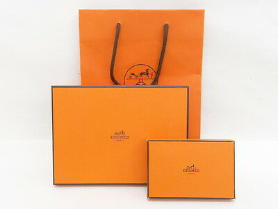 Auth HERMES Gift Storage Box Paper Bag SET Empty Free Shipping 98130057100 L26G