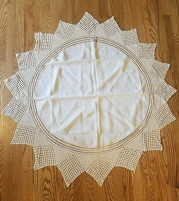 Beautiful Vintage Handmade Ecru Linen Round Tablecloth Cotton Crochet Lace 50""