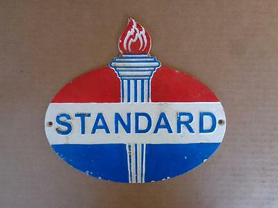 Cast Iron Standard Gasoline Oil Sign Gas Station Store Display Sign Plaque
