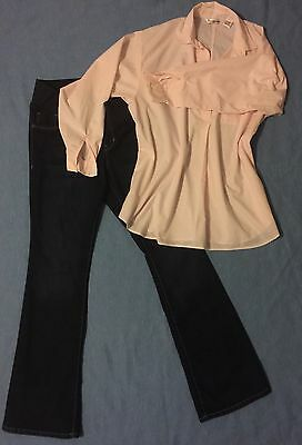 NEW 2piece MATERNITY Jeans Pants With Pockets & Pastel Pink Shirt Size 12 Outfit