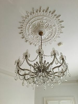 Antique 12 arm French Provincial Crystal & Brass Chandelier