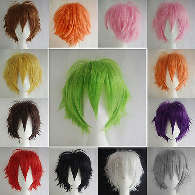 Short Straight Full Wigs Synthetic Hair Wig  Heat Resistant Anime Cosplay Party