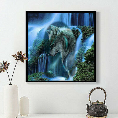 DIY 5D Diamond Mosaic Waterfall & Wolf Painting Cross Stitch Embroidery Home Dec