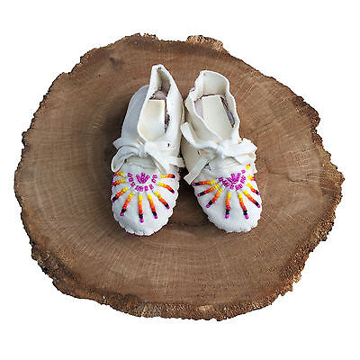 Native American Baby Moccasins Soft Sole Shoes Leather Boy Girl Sunburst